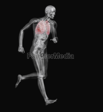 digitally generated image of running male