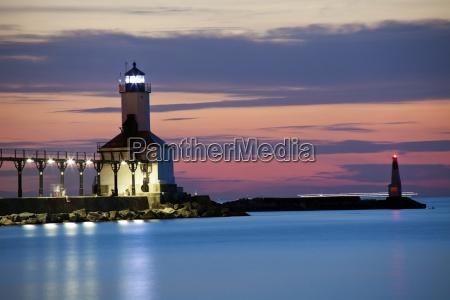 michigan city lighthouse at sunset chicago