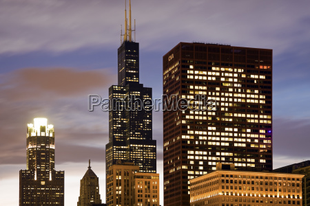usa illinois chicago illuminated skyscrapers at