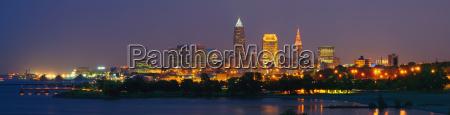 usa ohio cleveland city skyline illuminated