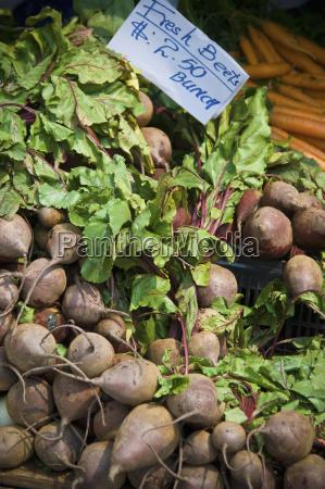 produce display at farmers market