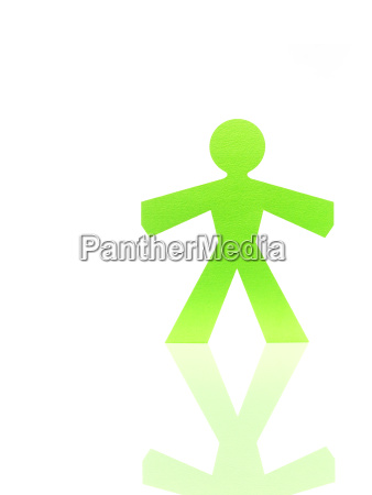 studio shot of green stick figure
