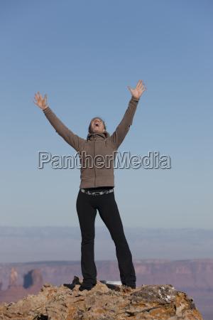 woman at top of canyon