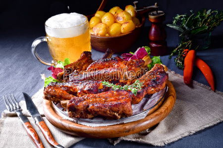 delicious bbq spareribs from the smoker