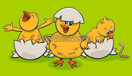 cartoon little chicks hatching from eggs