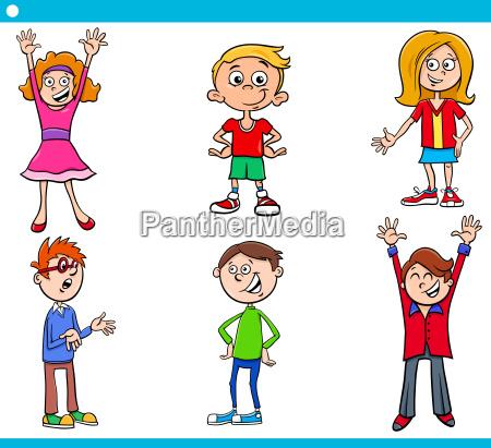 elementary age children characters cartoon set