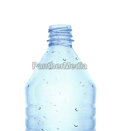 plastic bottle in blue color against