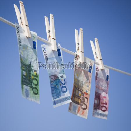 euros on clothes line