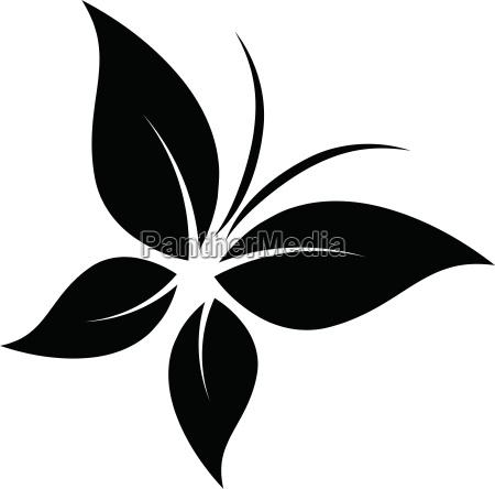 butterfly logo four leaves sticker label