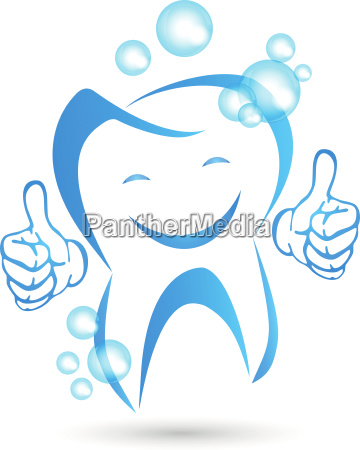 tooth with hands and smile dentist