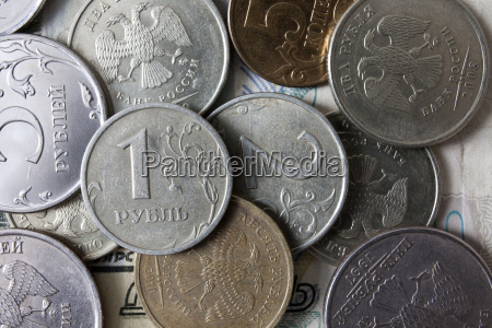 close up of russian coins