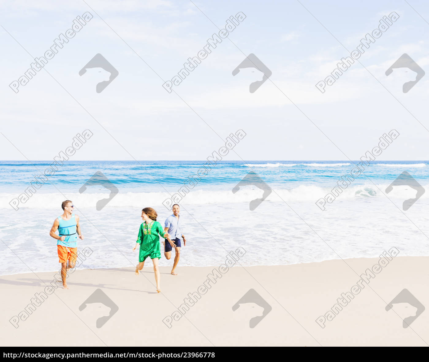 young, people, running, on, beach - 23966778