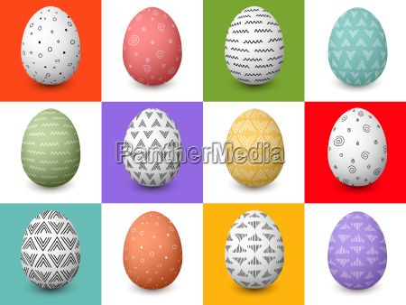 set of 12 easter white and