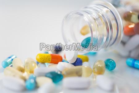 studio shot of various pills