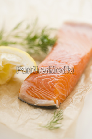 close up of salmon meat with