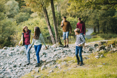 family hiking through the lake district