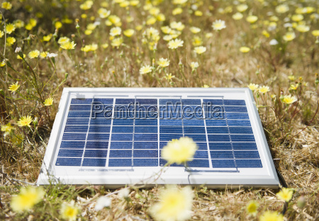 solar panel lying on meadow with