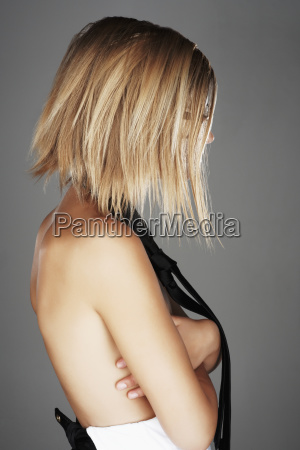 side view of sensual blond woman
