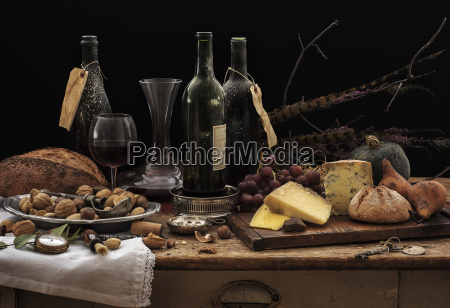 still life with wine bottles selection