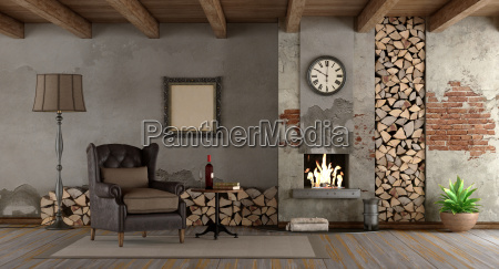 retro living room with fireplace