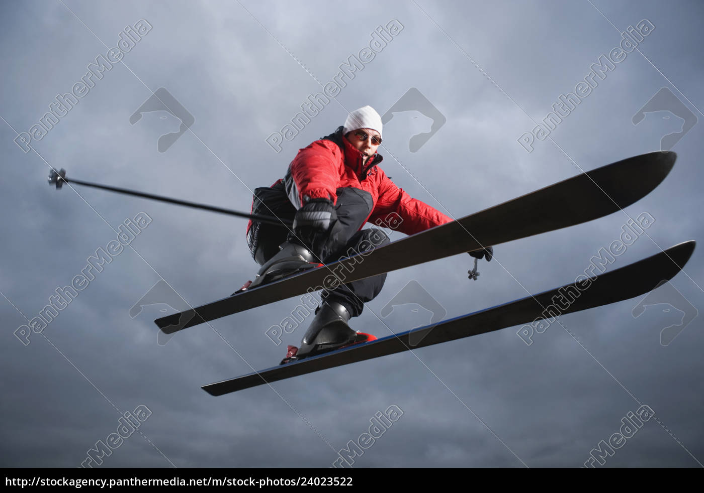 portrait, of, downhill, skier, in, mid-air - 24023522