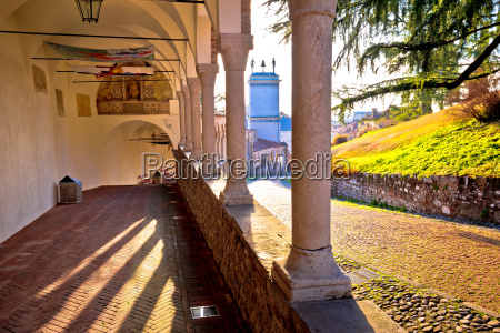 ancient italian arches and street view