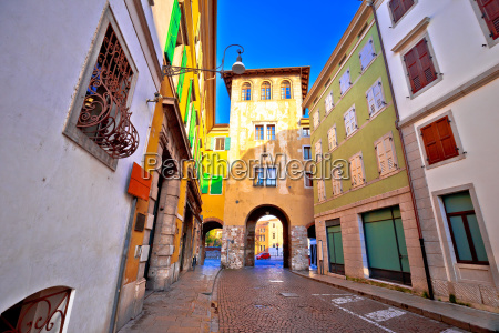 town gate and colorful architecture of