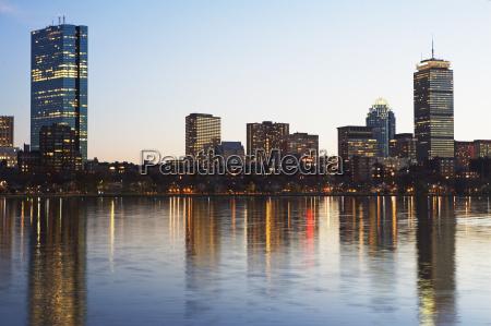 usa massachusetts boston skyline at dusk