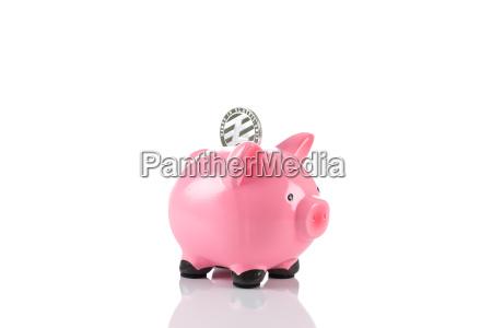 litecoin coin in a piggy bank