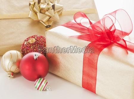 studio shot of christmas ornaments and
