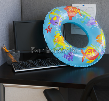 close up of inflatable ring on
