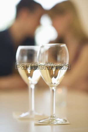 close up of wine glasses with