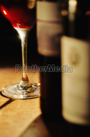 studio shot of wine glass and
