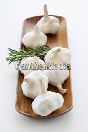 studio shot of fresh garlic and