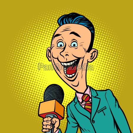 enthusiastic joyful reporter correspondent journalist male