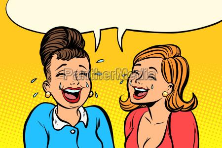 joyful girlfriends women laugh