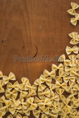 studio shot of fresh bowtie pasta