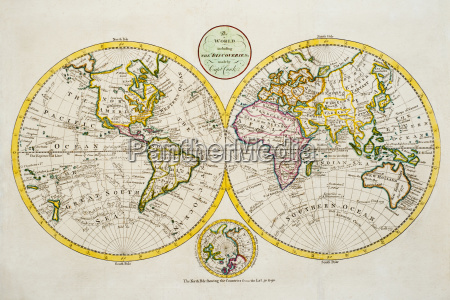 studio shot of antique world map