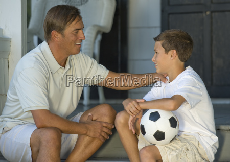father and son bonding on front