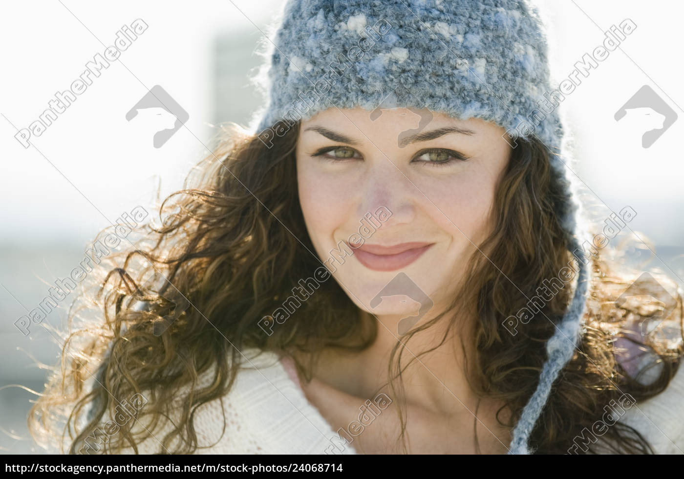 portrait, of, smiling, woman, in, stocking - 24068714
