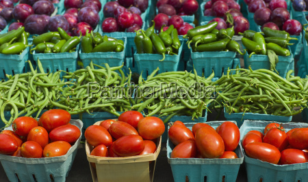 vegetables and fruits in boxes