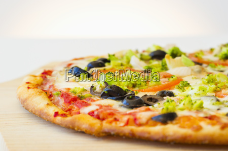 pizza with vegetable topping