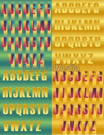striped artistic alphabets