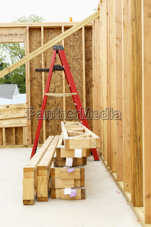 ladder and wooden frame at construction
