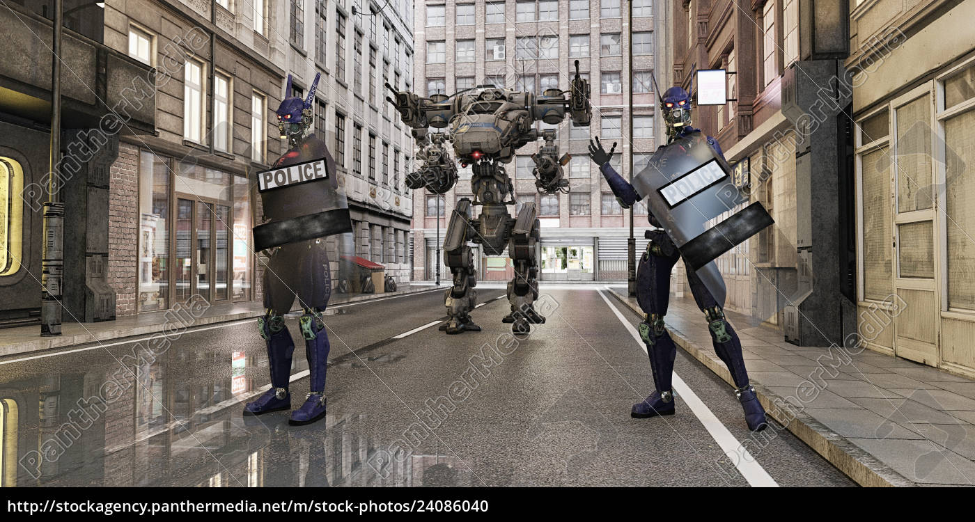 futuristic, robot, police, standing, in, city - 24086040