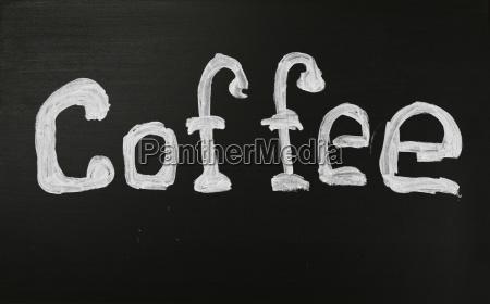 white chalk coffee word over black