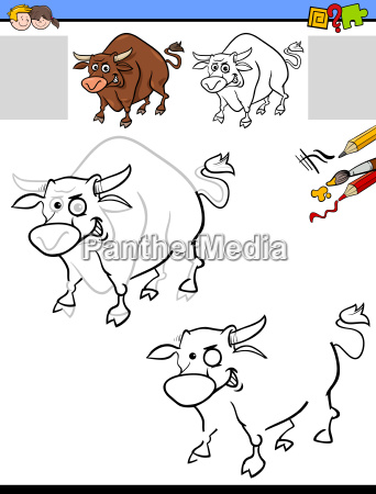 drawing and coloring worksheet with bull