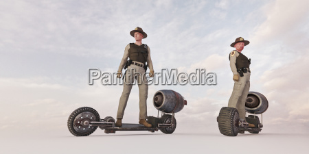 police officers riding futuristic skateboards