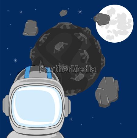 spaceman in open cosmos