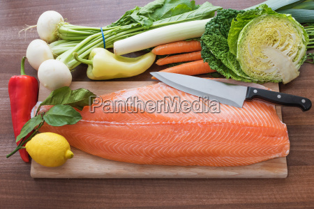 the kitchen desk with salmon fillet